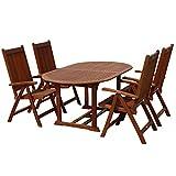 indoba® IND-70068-BASE7 – Serie Bali – Gartenmöbel Set 5-teilig aus Eukalyptus Holz – 4 Gartenstühle verstellbar und klappbar + ovaler Gartentisch ausklappbar