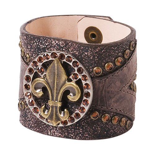 Leatherock Continental Leather Bracelet (Wood