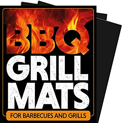 Chef Remi BBQ Grill Mats (2 Pack) Use on Gas, Charcoal, Electric, Camp, Drum, Barrel, Portable, Outdoor, Smoker, Propane, Pit Grills and Grates. Rated No.1 Barbecue Utensil & Cooking Meat Accessories