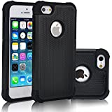 iPhone SE Case, OEAGO [Drop Protection] Protective Case [Shock Proof] - Hybrid Dual Layer Rubber Plastic Impact Defender Rugged Slim Hard Case Cover Shell for Apple iPhone SE / 5 / 5S - Black