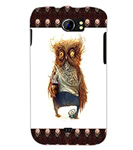 PrintDhaba Funny Owl D-4503 Back Case Cover for MICROMAX A110 CANVAS 2 (Multi-Coloured)