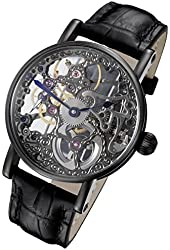 Rougois Tattoo Black Mechanical Skeleton Watch RS10003