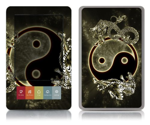 Bundle Monster Barnes & Noble Nook (Fit Nook Black & White Model Only) Ereader Vinyl Skin Cover Art Decal Sticker Protector Accessories - Ying Yang Dragon Tiger