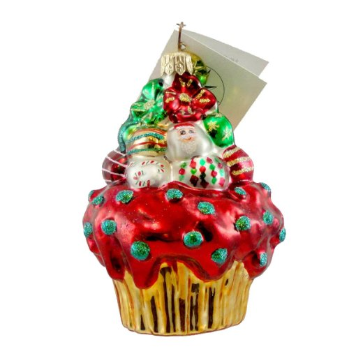 Christopher Radko CHRISTMAS CAKE Glass Ornament Cupcake