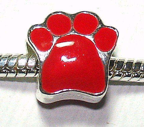 Paw Print / Red Enamel - Silver Plated Charm Bead - fits Pandora, Chamilia etc style Bracelets - SpangleBead