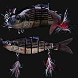 7 Jointed Hard Fishing Lure Swimbait Life-like Artificial Bait & Feather Hook