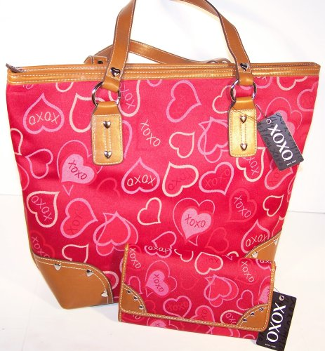 Signature Love Hearts Canvas Body with Faux Leather Trim and Heart Stud