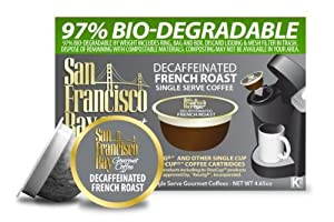 San Francisco Bay Coffee Decaf French Roast, 36-Count OneCup Single Serve Cups