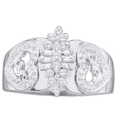 0.15 Carat (ctw) 10K White Gold Round & Baguette Diamond Ladies Cluster Love Heart Bridal Engagement Ring