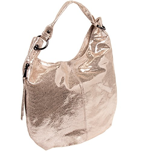 Hobo-Womens-Leather-Vintage-Gardner-Shoulder-Handbag-Platinum-Exotic