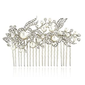 Bridal Hair Comb Flower Art Deco Cream Simulated Pearl Clear Austrian Crystal Silver-Tone N00414-1
