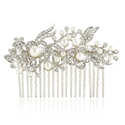 Cream Simulated Pearl Austrian Crystal Bridal Flower Hair Comb