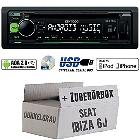Seat Ibiza 6J Dunkelgrau - Kenwood KDC-100UG - CD/MP3/USB iPod/Android-Steuerung Autoradio - Einbauset
