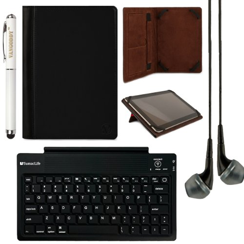 "Vangoddy Mary Standing Case For Hp Omni 10 / Slate 10 Hd 10.1"" Tablet + Bluetooth Keyboard + Laser Stylus Pen + Black Headphones (Black)"