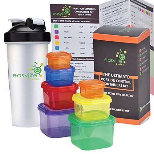 VALUE PACK Portion Control Containers (7 Piece) Kit With Protein Shaker Bottle and COMPLETE Guide + 21 DAY FIX MEAL PLANNER and Recipe Cookbook PDFs, Multi-Colored Coded Set, 100% Leak Proof! (Food Containers For 21 Day Fix compare prices)