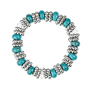 Fantastic Quality Stretch Stretchable Adjustable Bracelet Bangle With Turquoise Pearls Stones, Anti Silver Beads And Transparent Clear Crystals Gems Jewels By VAGA©
