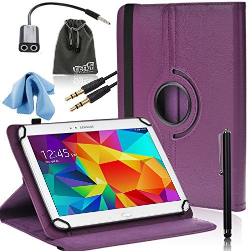EEEKit 6in1 Starter Kit for 10 inch Samsung/iPad air/Dragon/Toshiba/LG Gpad tablet,PU Rotating Case Cover,Audio Cable,Earphone Splitter Adapter Cable (Universal Starter Kit For Ipad compare prices)