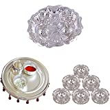 GS MUSEUM Silver Plated Rani Kumkum Plate, Silver Plated 4 Inchi Pooja Thali Nag And Silver Plated Set Of 6 Round...