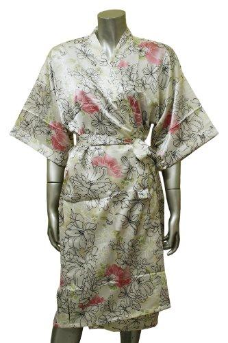 Floral Kimono Women's Satin Silk Robe - One Size - Light Green