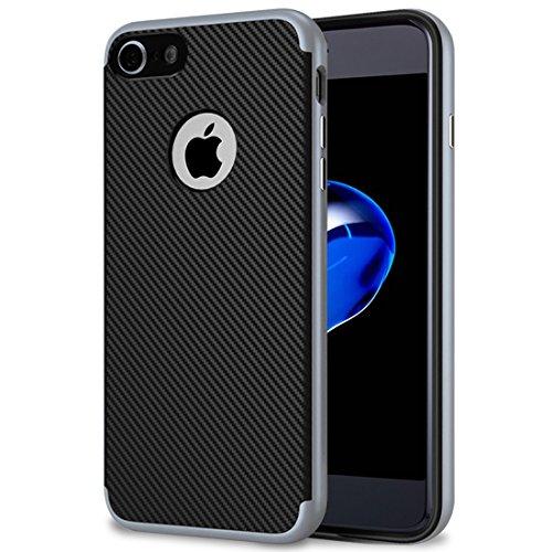 Coque iPhone 7, Ubegood iPhone 7 Bumper Cover iPhone 7 Coque de Protection Double pour iPhone 7 (Gris)
