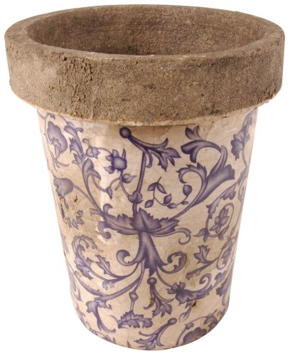 Long Tom Round Pot Planter in Blue/White