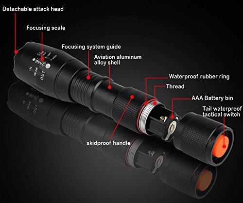 Best 007 Linterna LED (1000LM) de Mano Resistente al Agua con Batería Recargable y 6 Accesrios Diferentes Ultra, con 5 Modos, Perfecta para Ciclismo,Camping, Montañismo