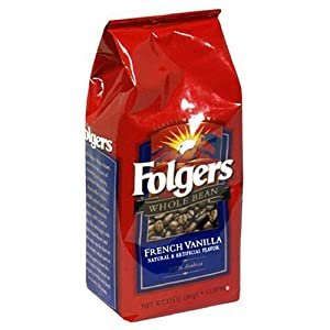 Folgers French Vanilla Coffee, Whole Bean, 12-Ounce Bags (Pack of 6)