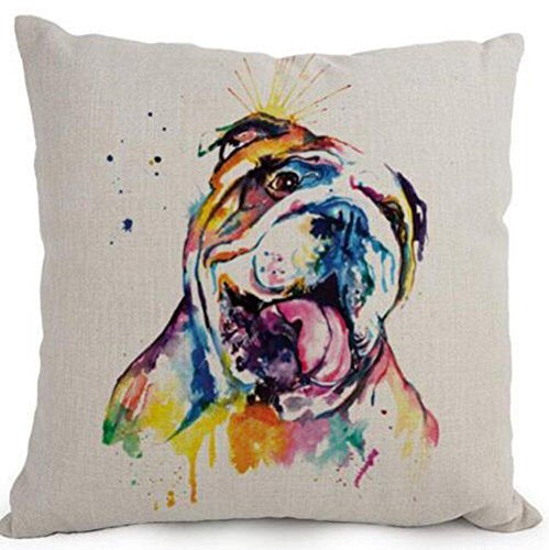 Cotton Linen Cartoon Lovely Animal Abstract Oil Painting Adorable Pet Dogs English Bulldog Throw Pillow Covers Cushion Cover Decorative Sofa Bedroom Living Room Square 18 Inches (English Bulldog Throw Pillows compare prices)