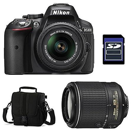 Nikon D5300 + 18-55 VR II + 55-200 VR II +SD 4GB Appareil Photo Numérique Compact 24.2 Mpix Mini-USB B, Wi-Fi Noir