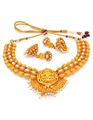 ANTIQUE GOLDEN STONE STUDDED TRADITIONAL TEMPLE THEME NECKLACE SET - B00ZC800QO