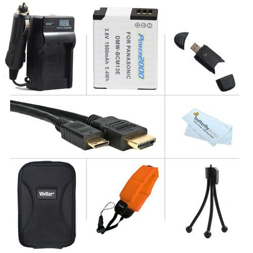 Must Have Accessory Kit For Panasonic Lumix Dmc-Ts5, Dmc-Ts5D, Dmc-Ts5K, Dmc-Ts5A, Dmc-Ts5S Tough Digital Camera Includes Extended Replacement (1500 Mah) Dmw-Bcm13E Battery + Ac/Dc Travel Charger + Micro Hdmi Cable + Usb Reader + Case + Float Strap +More