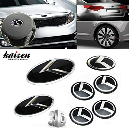Kaizen 7pcs K Speed Emblem Badge Set (double-side tape on the back for Kia Optima (K5) front grille, rear trunk, steering wheel and four rims) For Kia K5 Color Black (Kia Optima With Rims compare prices)