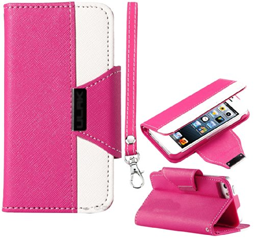 Mylife (Tm) Hot Pink And White Fancy Design - Textured Koskin Faux Leather (Card And Id Holder + Magnetic Detachable Closing) Slim Wallet For Iphone 5/5S (5G) 5Th Generation Itouch Smartphone By Apple (External Rugged Synthetic Leather With Magnetic Clip