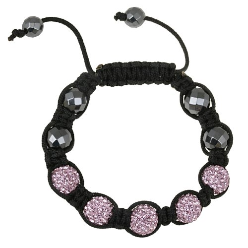Light Pink Crystal Fireball and Faceted Hematite Shamballa Bracelet
