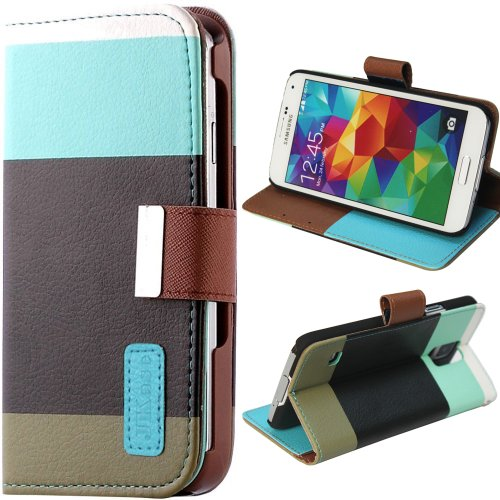 Jkase(Tm) Samsung Galaxy S5 Case [Color] Pu Leather Wallet Type Magnet Design Flip Case Cover With Credit / Business Card Holder For Galaxy S5 / Galaxy Sv / Galaxy S V (2014) - Retail Packaging (Blue/Black) front-906434