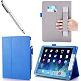 iPad Air 2 Case - i-BLASON Apple iPad Air 2 Case [2nd Generation] Auto Wake/ Sleep Smart Case Leather Case (Elastic Hand Strap, Multi-Angle, Card Holder) With Bonus Stylus (Multi-Color to Choose From) 3 Year Warranty (Blue, iPad Air 2)