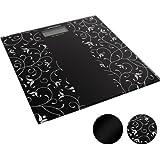 Pèse-personne numérique - noir motif floral - 30 x 30 cm - avec affichage LCD - 0,1-180 kg - DIVERSES COULEURS AU CHOIX