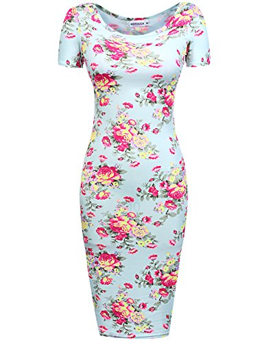 Hotouch Women Summer Short Sleeve Floral Print Wrap Pencil Dress Light Blue S (Pink And Blue Dress compare prices)