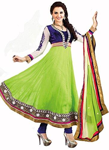 Heenaz Fashions Ravishing Monika Bedi Blue and Green Colord Chiffon Bollywood Embroidered Designer Anarkali Suit Material