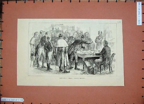 1886 Boycotting Ireland Men Refusing Rent Table People