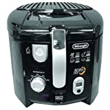 DeLonghi Cool-Touch Roto Deep Fryer with Complete Oil Drain System, 1.5 lb capacity, Black