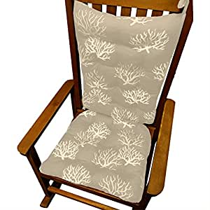 Rocking Chair Cushions Coastal Coral Grey Batik Print Standa
