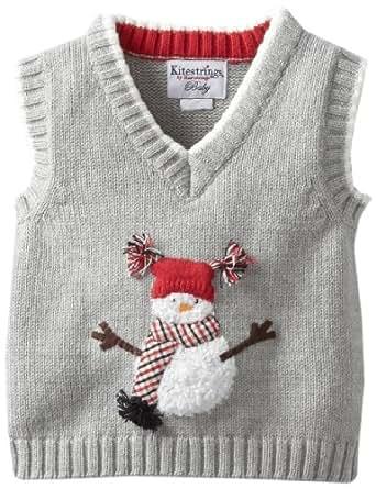 Kitestrings Baby-Boys Newborn Snowman Sweater Vest, Graphite, 3-6 Months