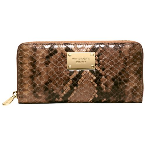 MICHAEL Michael Kors Michael Kors Genuine Leather Zip Around Za Continental Wallet Sand