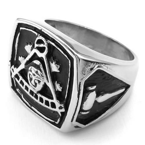 Konov Jewelry Mens Stainless Steel Ring, Vintage Freemason Masonic, Black Silver, Size 12