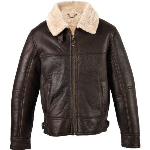 Mens Brown Leather Aviator Flying / Bomber Jacket with Sheepskin lining (Shaun). Size 38