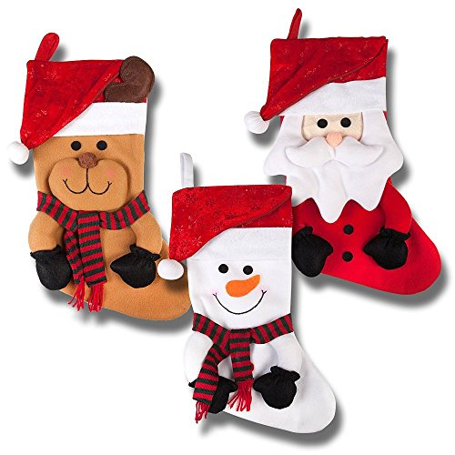 19 inch Long 3D Happy Plush Christmas Stockings; Set of 3; Santa, Reindeer & Snowman!