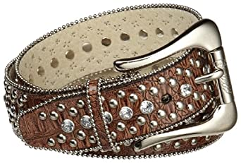 Guess Women's Patent Dome Studded Belt, Mocha, X-Large