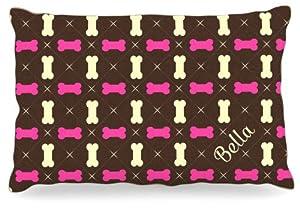 "Kess InHouse KESS Original ""Bella"" Girl Bones Name Fleece Dog Bed, 30 by 40-Inch, Pink/Brown/Tan"