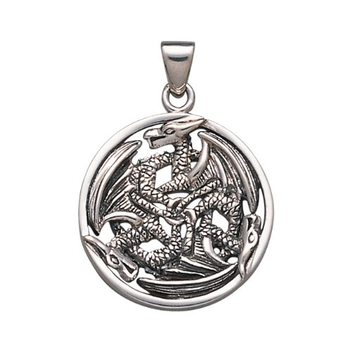 ".925 Sterling Silver Dragons Legends Fairies Viking Norse Divine Woven Knots Medal Pendant Necklace Comes With A Beautiful 20"" Silver Plated Snake Chain"